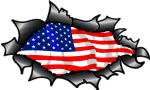 Ripped Torn Carbon Fibre Fiber Design With American Stars & Stripes US Flag Motif External Vinyl Car Sticker 150x90mm
